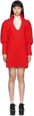 Gucci Red Knit V-Neck Dress