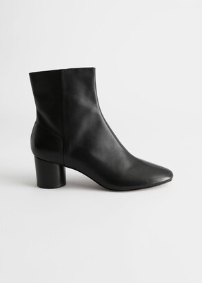 And other stories Leather Round Toe Ankle Boots