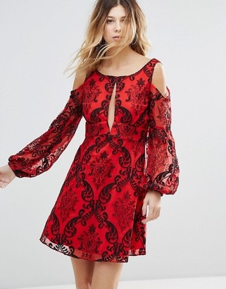Free People Want To Want Me Embroidered Flared Sleeve Dress