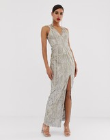 Bariano embellished metallic lace maxi dress in silver