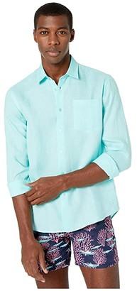 Vilebrequin Caroubis Solid Linen Shirt (Lagoon) Men's Clothing