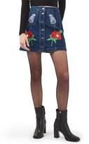 Topshop Women's Floral Embroidered Denim Skirt