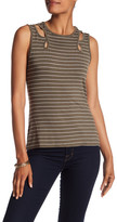 Max Studio Striped Cutout Knit Tee