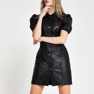 River Island Womens Black puff sleeve leather shirt dress
