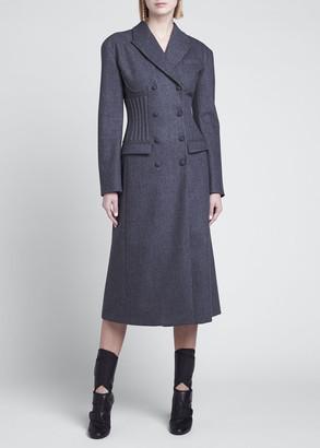Fendi Boned Flannel Midi Coat