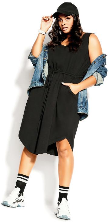 City Chic Soft Tie Dress - black