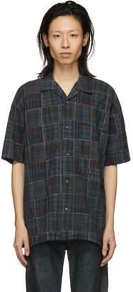 Kozaburo Blue Check Madras Patchwork Boxy-Fit Shirt