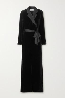 Diane von Furstenberg Monica Satin-trimmed Velvet Jumpsuit - Black