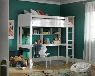 Argos Home Brooklyn White High Sleeper Bed, Desk & Shelves