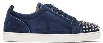 Christian Louboutin Louis Junior Studded Suede Trainers - Mens - Navy