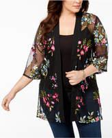 NY Collection Plus Size Embroidered Kimono