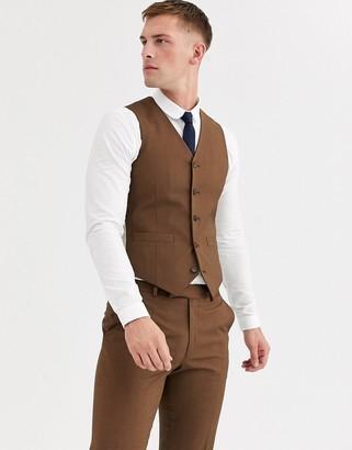 Asos Design DESIGN slim suit waistcoat in tobacco-Tan