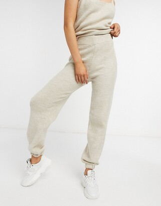 ASOS DESIGN co-ord knitted fluffy jogger in oatmeal