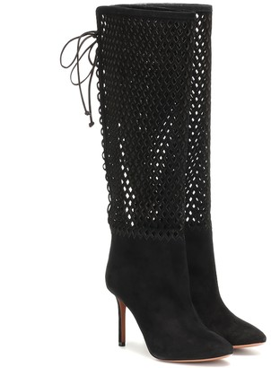 Alaia Perforated suede knee-high boots