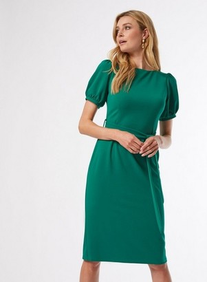 Dorothy Perkins Womens Green Belted Twill Dress, Green