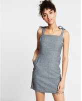 Express Striped Chambray Tie Shoulder Cotton Sheath Dress
