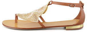 Lola Cruz Crystal Mesh Toe-Ring Sandal, Cuero