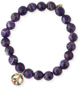 Sydney Evan Jewelry 8mm Amethyst Beaded Bracelet with Rainbow Sapphire Peace Charm