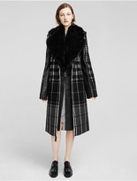 Calvin Klein Collection Wool Mixed Plaid + Fleece Coat