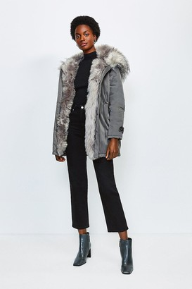 Karen Millen Faux Fur Hood and Trim Parka Coat