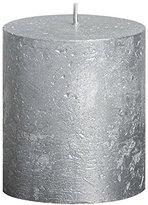 Rustic 103667630381 Metallic Pillar Candle, Paraffin Wax, Silver