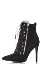 Quiz Black Textured Lace Up Pointed Shoe Boots