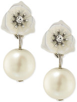 Carolee Silver-Tone Crystal and Imitation Pearl Double Drop Earrings