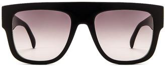 Alaia Flat Top Stud Sunglasses in Black & Silver | FWRD