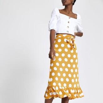 River Island Womens Yellow spot frill hem midi skirt