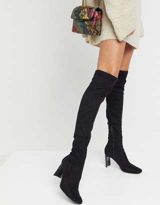 Bershka high leg heeled faux suede boots in black