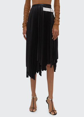 Helmut Lang Asymmetrical Pleated Leather Skirt