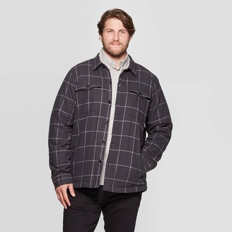 Men's Big & Tall Plaid Sherpa Lined Shirt Jacket - Goodfellow & CoTM Hematite