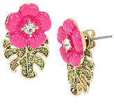 Betsey Johnson Tropical Flowers & Leaves Front/Back Statement Earrings