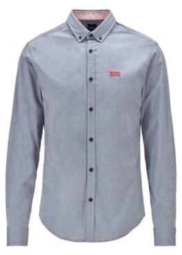 BOSS Regular-fit shirt in stretch cotton with moisture management
