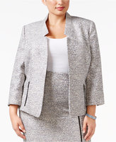 Kasper Plus Size Zip-Pocket Tweed Blazer