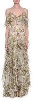 Alexander McQueen Floral Georgette Off-Shoulder Gown, Ivory