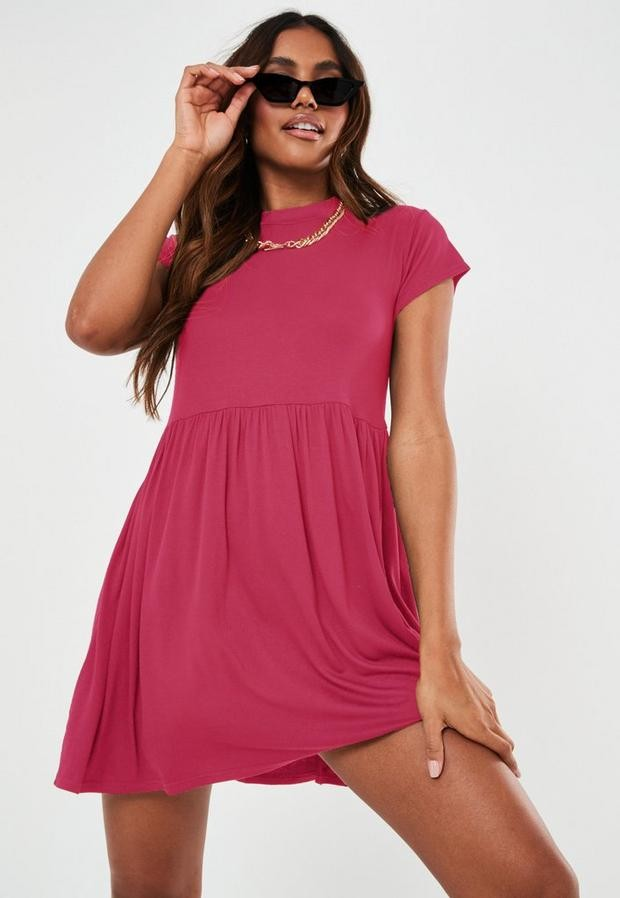 Missguided Pink Short Sleeve Smock Dress