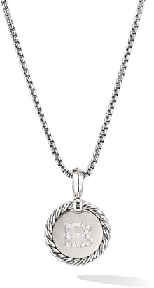 David Yurman Cable Collectibles Sterling Silver & Pave Diamond Initial Pendant Necklace