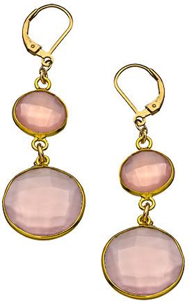 Athena Designs Rose Quartz Double Round Dangle Earrings