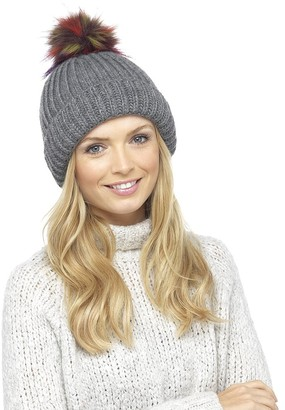DINZIO Ladies Chunky Soft Ribbed Beanie Hat with Extra Large Multicoloured Faux Fur Pompom Grey