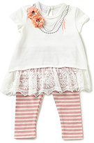 Bonnie Jean Bonnie Baby Baby Girls Newborn-24 Months Necklace-Detailed Dress & Striped Leggings Set