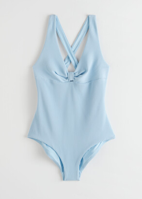 And other stories Criss Cross Ribbed Tie Knot Swimsuit