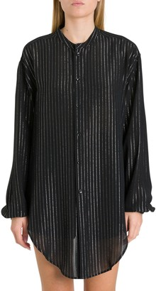 Saint Laurent Overisized Shirt With Silver Stripes Motif