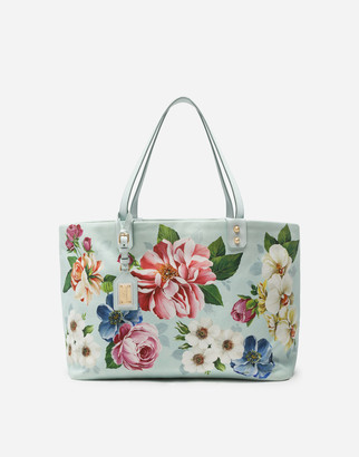 Dolce & Gabbana Medium Beatrice Shopping Bag In Canvas With Floral Ombre Print