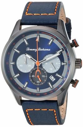 Tommy Bahama Men's Stainless Steel Japanese Quartz Leather Calfskin Strap