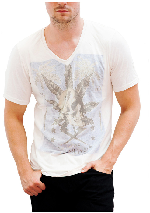 Cult of Individuality MCMX-2PLY Front V Neck In White
