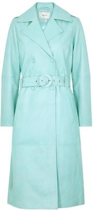 Gestuz Mairi blue leather trench coat