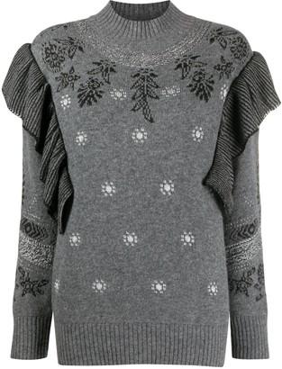 Alberta Ferretti Ruffled Cashmere-Blend Knitted Jumper