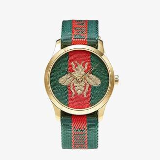 Gucci Nylon Dial with Embroidered Strap with L'Aveugle Par Amour Phrase Woven Stripe (Green/Red) Watches