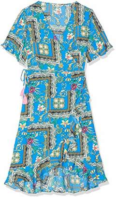 Yumi Flower Scarf Print Wrap Dress With Frill